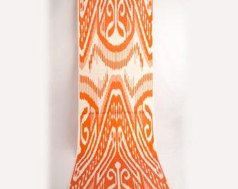 Orange ikat fabric, ikat fabric by the yards, bohemian fabric, silk cotton ikat
