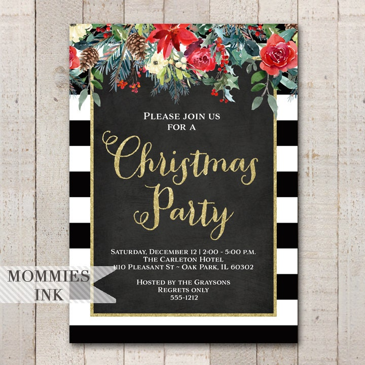 Holiday Party Invitation Christmas Party Invitation Winter