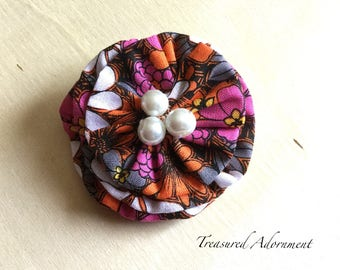 Fabric Flower Hair Clip, Orange Pink Black floral Print, white pearls, Halloween Hair clip, Fall Hair clip, fabric hair clip accessory
