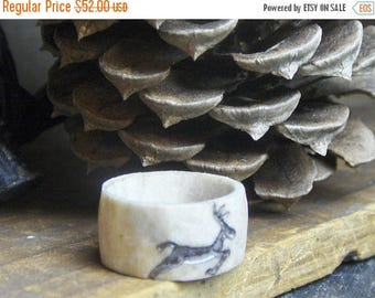 RUNNING STAG.  Deer antler carved ring size 4.75 smooth rustic natural woodland fauna taxidermy Ready to ship