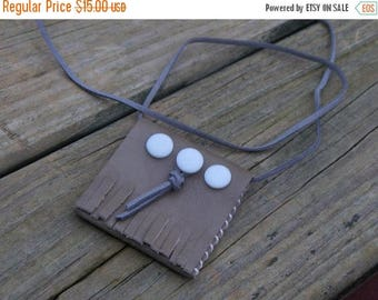 SALE Handmade Leather Suede Native Amulet bag TRIPLE MOON Goddess Chamois deer leather tribal talisman worry bag. mop buttons  pouch. Unique