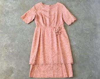 meridel 50s pink lace overlay dress - 1211132