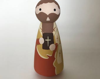 St. Atticus of Constantinople - Wooden Peg Doll