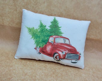 Vintage Red truck pillow | Christmas decor | Vintage truck | Antique truck decor | Gift for him | Stocking stuffer | Christmas decoration