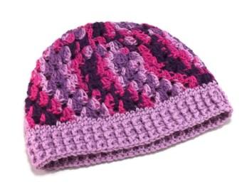 Large Crochet Hat, Winter Hat, Crochet Beanie Hat, Woman's beanie, Gift for her, Purple Crochet Hat, Pink Crochet Hat, Ready to Ship