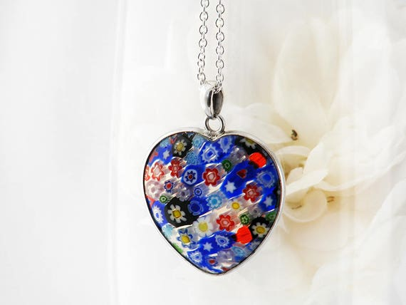 Vintage Millefiori Pendant | Italian Glass Heart Pendant | Thousand Flower Jewelry | Multi Colored Flowers - 20 Inch Sterling Chain