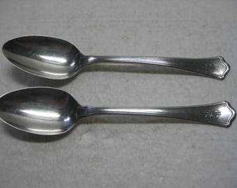 "2 Antique Vintage Wallace Sterling Silver 6"" Teaspoons Washington Pattern Mono'd 51 Grams"