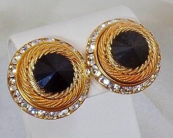 SALE Vintage Rivoli Rhinestone Earrings.  Channel Set Black Clear Rhinestone Earrings. Bold Gold Earrings.