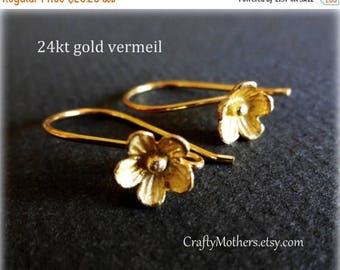 8% off SHOP-WIDE, 5 Pairs Bali 24kt Gold Vermeil Large Flower Ear Wires (10 pieces), 25mm x 15mm, artisan-made supply