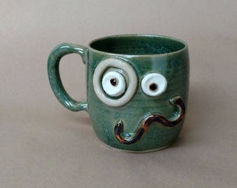 Epic Mustache Mug. Handlebar Stache and Monocle Coffee Cup Huge 18 Ounces Funny Green Face Mug. Mans Man Coffee Cup. Stoneware Clay Pottery.