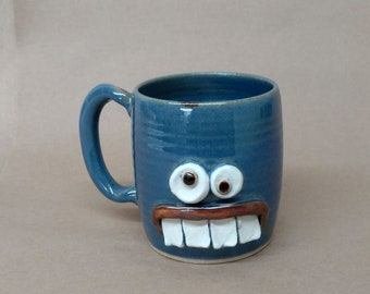 Geeky Guy Beer Mug. Funny Nerdy Office Coworker Boss Gift Coffee Cup. Nerdy Gifts for Him. Humorous Blue Face. Microwave Safe Ug Chug. 14 Oz