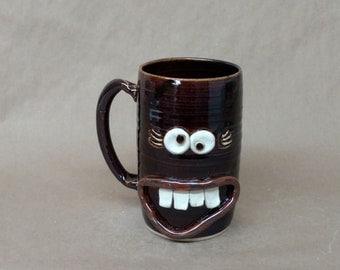 Huge 32 Ounce Handmade Pottery Mug in Black. Microwave and Dishwasher Safe UgChug Cup by Nelson Studio of Alabama. Mother's Day Gift.
