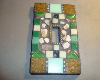 MOSAIC Light Switch Plate -  Single Switch, Wall Platae, Home Decor, Tan, Green, Mother-of-Pearl
