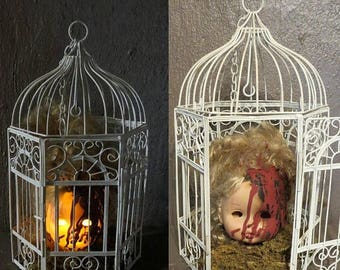 on sale creepy doll head light up halloween decoration battery operated night light caged