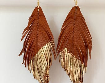 Tan LEATHER and gold leaf feather earrings lightweight earrings leather earrings leather feather bohemian earrings lightweight earrings