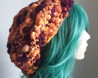 Dreadlock Hat - extra slouchy, handspun wool with sparkle, burgundy and rust - one of a kind!