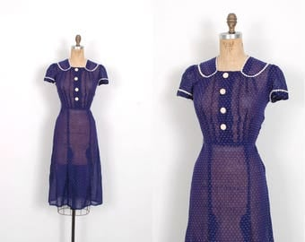 Vintage 1930s Dress / 30s Swiss Dot Cotton Day Dress / Blue and White ( small S )
