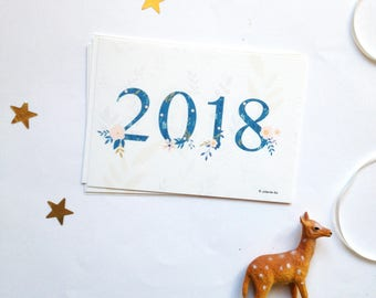 2018 New Years Cards - 2018 New Year's Holiday Cards - 2018 Happy New Year card - 2018 greetings cards - 2018 cards - 2018 cards set