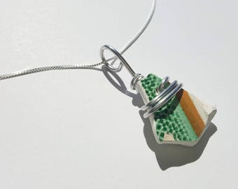 Green dots and stripes Sea Pottery Necklace handmade with sterling Chain and silver aluminum