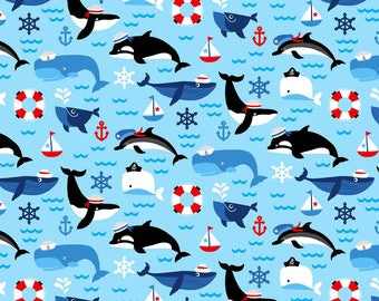 First Mate Nautical Fabric Sea Life Ocean Whale Orca Whales