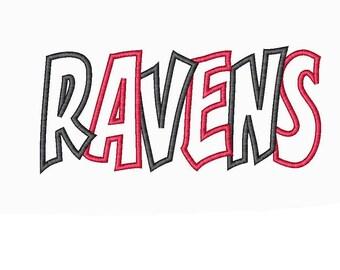Ravens 2 Color Embroidery Machine Applique Design 4700