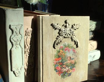 Altered French Cou try Decorated Book Handmade Clay Appliques  Chalk Paint Wedding Decor