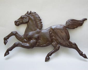 Vintage Large Metal Running Horse Sign . Metal Art . Beautiful Horse . Plaque . Sign . Wall Decor