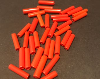 Old World Trade beads  round glass tubes Coral orange 14 mm 35 beads