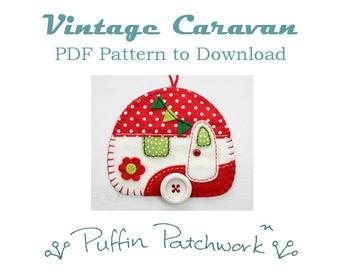 Caravan PDF pattern, Trailer ornament pattern, Caravan sewing pattern, Felt Christmas ornament pattern, Handmade camper ornament PDF pattern