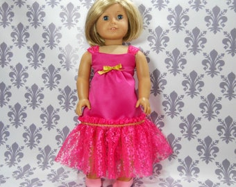 18 inch doll clothes made to fit dolls such as American Girl, Pink Party Fancy Gown Dress, 6-2138