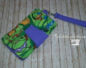 READY To SHIP - TMNT Teenage Mutant Ninja Turtles & Purple Wallet Clutch with 8 Credit Card Slots, 1 Zipper pouch, and 2 Slots for Money