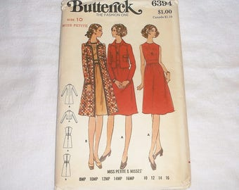 Uncut vintage BUTTERICK Dress & Coat Pattern 6394 • size 10 Miss Petite • Factory Folded