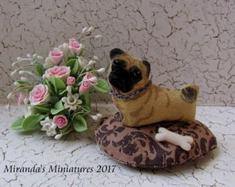 Dollhouse miniature Cottage chic pink rose PUG  pet bed pillow
