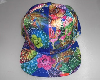 Snapback Flat-Brim Hat - Flamingos (One-of-a-kind)