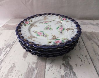 Vintage Victorian Style Porcelain China Plates Blue White Gold with Pink Flowers Set of 5 Swirl Dessert Tea Horsdoeuvres Plates
