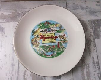 Vintage Wyoming Souvenir Plate State Large 10 Inch Decorative Collector Travel Vacation Retro Wall Decor