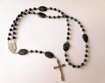Catholic Rosary of Snowflake Obsidian, Black and Gray Five decade Rosary with Scapular Medal Center and Risen Christ Cross