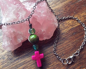 Pink Howlite Cross Pendant Choker Length Necklace