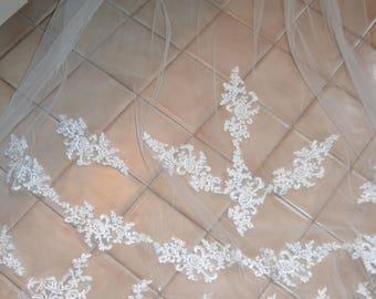 Cathedral  Veil, Lace Wedding Veil, Long veil, Lace Bridal Veil,  Ivory Wedding Veil, Bridal Veil, Ivory veil