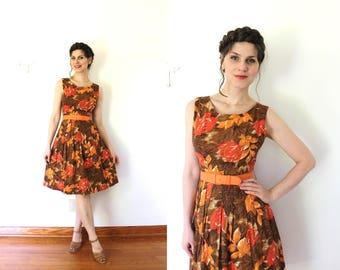 1950s Dress / 50s Dress / 1950s 60s Orange And Brown Autumn Fall Leaves Full Skirt Dress