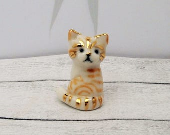 Porcelain Miniature ceramic ginger kitten figurine hand crafted miniature kitten totem with 24k gold trim