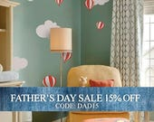 Fathers Day Sale - Hot air balloon with Clouds Decal Set - Kids vinyl Wall Sticker