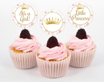 Princess Cupcake Toppers, Baby Shower Cupcake Toppers, Pink And Gold Baby  Shower, Princess