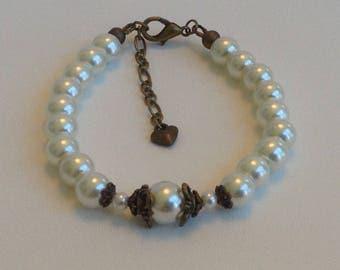 Rustic Ivory Pearl Bridal Bracelet