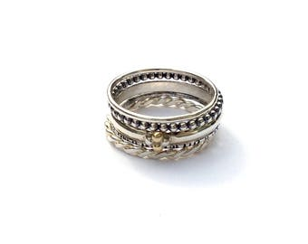 Lady Luck - stacking set, silver rings, clover ring, bead ring, gold ring, flower ring, stackable rings, mixed metal ring set, regal jewelry
