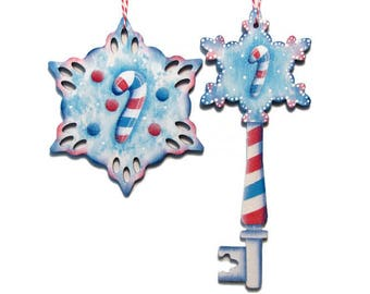 Snowflake With Candy Cane Ornament, Handpainted Wood, Hand Painted Glittered Christmas Ornament, Tole Decorative Painting