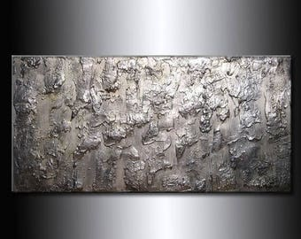 Large Abstract Painting Metallic Thick Texture Gallery Canvas Contemporary Fine Art By Henry Parsinia 48x24