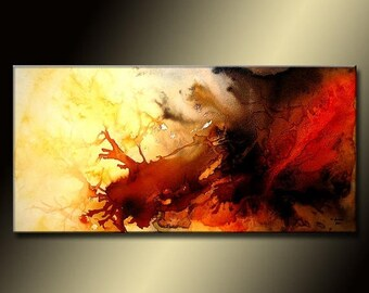 Abstract painting, Large  Red And Black Contemporary Colorful Canvas Art by Henry Parsinia 48x24