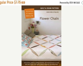 last call PATTERN SALE....Denyse Schmidt Quilts - Flower Chain Quilt & Sham Pattern - FREE shipping with min 1 yd fabric