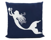 "New Fabric - Mermaid - Nautical Embroidered Pillow Cover - Fits 18""x18"" Insert - Navy - Beach / Coastal / Nursery Decor (READY TO SHIP)"